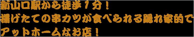 新山口駅から徒歩1分!揚げたての串カツが食べられる隠れ家的でアットホームなお店!
